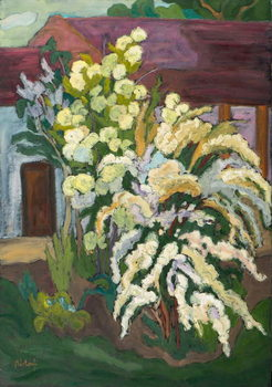 Shrubbery in Bloom  oil on board Kunstdruck