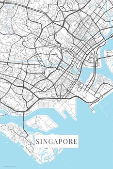 Mapa Singapur white