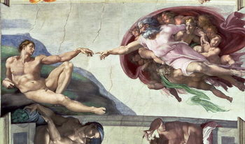 Sistine Chapel Ceiling (1508-12): The Creation of Adam, 1511-12 (fresco) Reproduction d'art