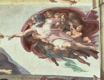 Sistine Chapel Ceiling: The Creation of Adam, detail of God the Father, 1508-12 (fresco) Kunstdruk