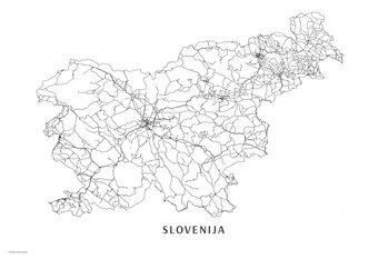 Karta Slovenija black & white