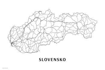 Mapa Slovensko black & white