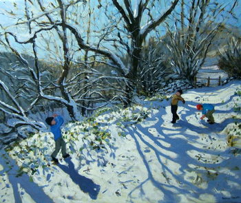 Snowball fight, Derbyshire Kunstdruck