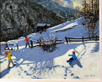Kunstdruk Snowballers, Zermatt