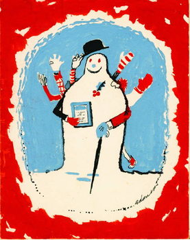 Snowman with many arms, 1970s Kunstdruck