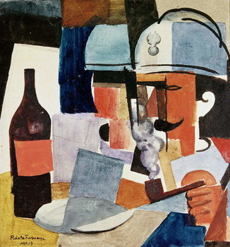 Reproducción de arte Soldier with Pipe and Bottle