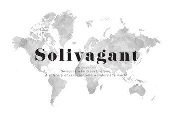 Εικονογράφηση Solivagant definition world map