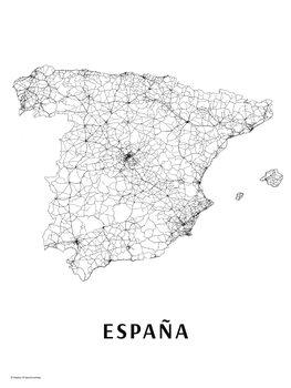 Mapa Španělsko black & white