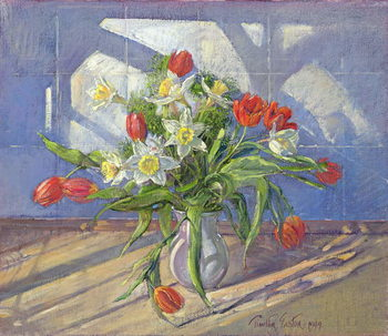 Spring Flowers with Window Reflections, 1994 Reproduction de Tableau