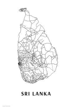 Mapa Sri Lanka black & white