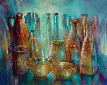 Illustration Sstill life with two golden bowls