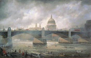 St. Paul's Cathedral from the Southwark Bank, Doggett Coat and Badge Race in Progress Kunstdruk