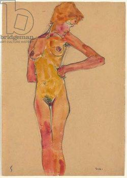 Standing Female Nude (Gerti Schiele); Stehender weiblicher Akt (Gerti Schiele), 1910 Kunstdruk