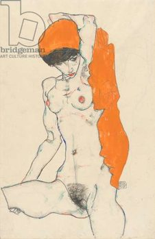Standing Nude with Orange Drapery, 1914 Kunstdruk