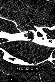 Mapa Stockholm black