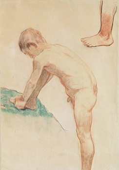 Study of a boy and a foot, 1888 (red chalk, charcoal & pastel on beige paper) Kunsttryk