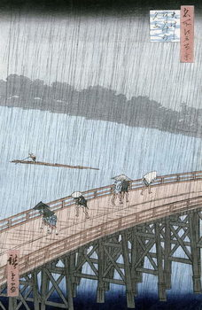 Umelecká tlač Sudden Shower over Shin-Ohashi Bridge and Atake (Ohashi Atake no Yudachi),