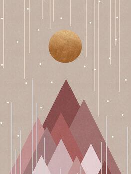 Ilustrácia Sun & Mountains Coral Pink