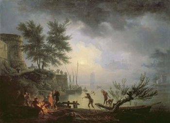 Sunrise, A Coastal Scene with Figures around a Fire, 1760 Kunstdruk