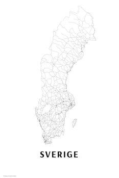 Mapa Švédsko black & white