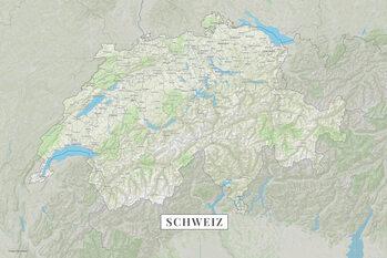 Mapa Švýcarsko color