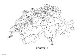 Karta Switzerland black & white
