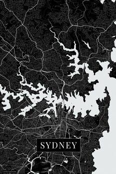 Mapa Sydney black