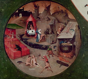 Kunstdruk Tabletop of the Seven Deadly Sins and the Four Last Things, detail of Hell