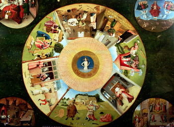 Reproducción de arte Tabletop of the Seven Deadly Sins and the Four Last Things (oil on panel)