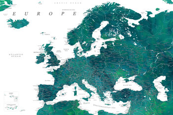 Карта Teal detailed map of Europe in watercolor