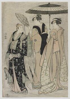 Obrazová reprodukce The Actors Sujuro III as Minamoto no Yoritomo, Nakamura Riko as Kiyotaki, Yamashita Mangiku as Masa, Edo period, 1784