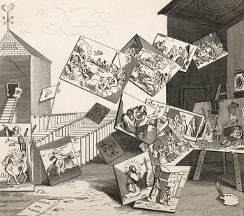 Reproducción de arte  The Battle of the Pictures, from 'The Works of Hogarth', published 1833