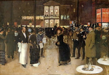 Obrazová reprodukce The Boulevard at Night, in front of the Theatre des Varietes, c.1883