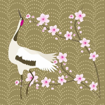 Kunsttrykk The Cherry Blossom and the Crane