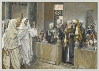 Reproducción de arte  The Chief Priests Ask Jesus by What Right Does He Act in This Way, illustration from 'The Life of Our Lord Jesus Christ', 1886-94