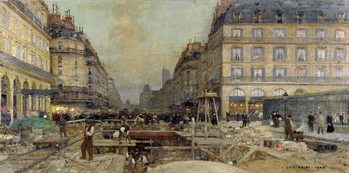 The Construction of the Metro, 1900 Reproduction d'art