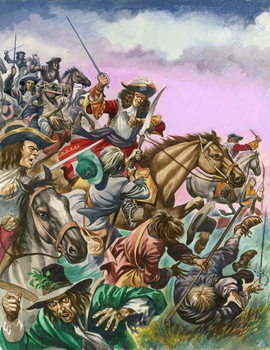The Duke of Monmouth at the Battle of Sedgemoor. Kunstdruk
