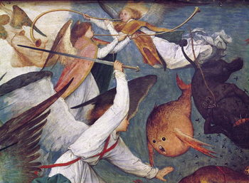 Kunsttryk The Fall of the Rebel Angels, detail of angels fighting and playing music