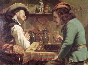 The Game of Draughts, 1844 Obrazová reprodukcia