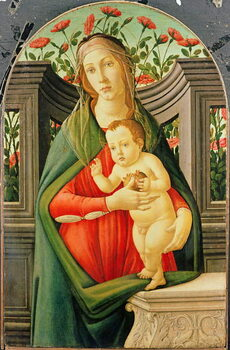 Obrazová reprodukce The Madonna and Child in a niche decorated with roses