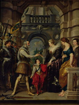 The Medici Cycle: Henri IV (1553-1610) leaving for the war in Germany and bestowing the government of his kingdom to Marie de Medici (1573-1642) 20th March 1610, 1621-25 Kunstdruck