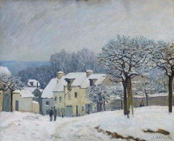 The Place du Chenil at Marly-le-Roi, Snow, 1876 Kunsttryk