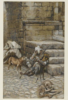Reproducción de arte The Poor Lazarus at the Rich Man's Door, illustration from 'The Life of Our Lord Jesus Christ'