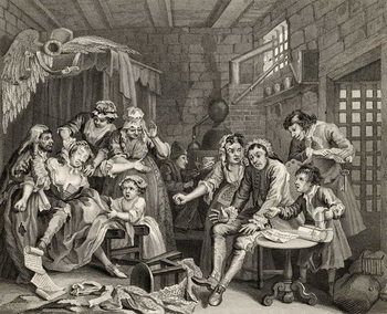 Reproducción de arte  The Prison Scene, plate VII from 'A Rake's Progress', from 'The Works of William Hogarth', published 1833