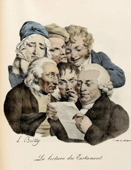 Reprodukcja The Reading of the Will Engraving by Louis-Leopold Boilly
