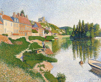 The River Bank, Petit-Andely, 1886 Kunsttryk