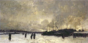 The Seine in December, 1879 Reproduction de Tableau