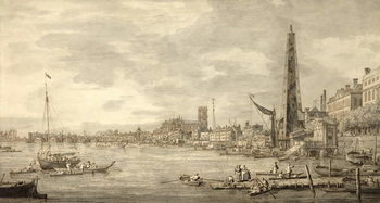 The Thames Looking towards Westminster from near York Water Gate Kunsttryk