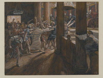 Reproducción de arte  The Tribunal of Annas, illustration from 'The Life of Our Lord Jesus Christ', 1886-94