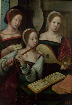 Three Musicians, c.1500-40 Reproduction de Tableau